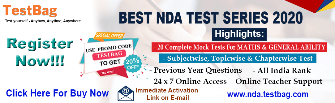 NDA-2019 Free Mock Test, Online Test Series, Mock Test Papers